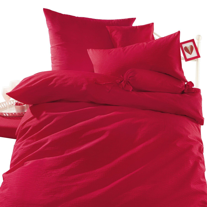 erwin m ller bettw sche seersucker rot gr e 135x200 cm 80x80 cm aibv trade gmbh. Black Bedroom Furniture Sets. Home Design Ideas